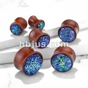 Blue Druzy Stone Set Double Flared Natural Wood Plugs