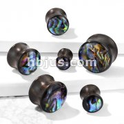 Multi Color Shell Inlaid Front Double Flared Natural Wood Saddle Plugs