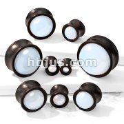 Opalite Stone Front Double Flared Ebony Wood Saddle Plugs