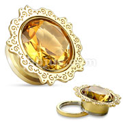 Lotus Flower with Topaz CZ Gold IP 316L Surgical Steel Screw Fit Tunnels