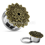Manish Lotus Flower 316L Surgical Steel Screw Fit Tunnels