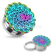 Rainbow Tribal Flower Top Design 316L Surgical Steel Screw Fit Tunnels
