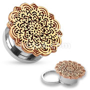 Rose Gold Tribal Flower Top Design 316L Surgical Steel Screw Fit Tunnels