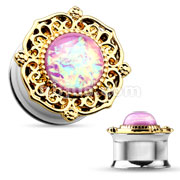 Gold Tribal Plater with Pink Opalite Gem 316L Surgical Steel Double Flared Tunnels