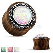 Opal Glitter Center Organic Wood Saddle Plug