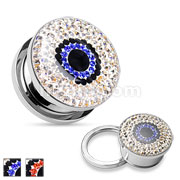 Crystal Paved Eye 316L Surgical Steel Flesh Tunnels