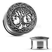 Tree of Life Face 316L Surgical Steel Double Flare Tunnel