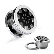 Black Ship Wheel on Mirror Polished Surgical Steel Screw Fit Flesh Tunnels