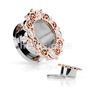 Rose Gold IP CZ Set Vintage Filigree Rim 316L Surgical Steel Screw Fit Flesh Tunnels