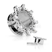 Marquise and Round CZ Set Vintage Filigree Rim 316L Surgical Steel Screw Fit Flesh Tunnels