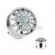 Crystal Paved Flower Front 316L Surgical Steel Double Flared Tunnel Plugs
