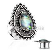 Abalone Centered Tear Drop Top 316L Surgical Steel double Flared Tunnel Plugs