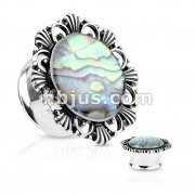 Abalone Centered Vintage Flower Top 316L Surgical Steel double Flared Tunnel Plugs