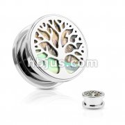 Abalone Inlaid under Life Tree Top 316L Surgical Steel Screw Fit Flesh Tunnel Plugs