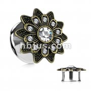 Antique Gold Plated Crystals Set Tribal Flower Front 316L Surgical Steel Double Flared Tunnels