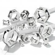 Hexa Screw Fit 316L Surgical Steel Flesh Tunnels