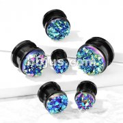 Blue Druzy Stone Front Black IP Over 316L Surgical Steel Screw Fit Flesh Tunnel Plugs