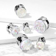 White Druzy Stone Front 316L Surgical Steel Screw Fit Flesh Tunnel Plugs