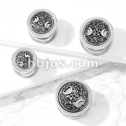 Antique Silver Plated Two Crescent Moons and Star Center 316L Surgical Steel Screw Fit Flesh Tunnel Plugs