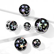 Stars Hologram 316L Surgical Steel Screw Fit Flesh Tunnel Plugs