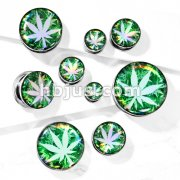 Pot Leaf Hologram 316L Surgical Steel Screw Fit Flesh Tunnel Plugs