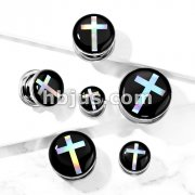 Cross Hologram 316L Surgical Steel Screw Fit Flesh Tunnel Plugs