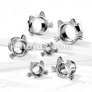 Cat With Whiskers and Paved GemEars 316L Surgical Steel Double Flared Tunnels