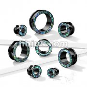 Abalone Rimmed Black PVD over 316L Surgical Steel Screw Fit Tunnels