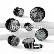 Rainbow Fossil Black PVD 316L Surgical Steel Screw Fit Tunnels