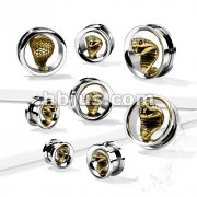 Gold PVD Cobra in 316L Surgical Steel Screw Fit Flesh Tunnel Plugs