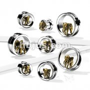 Gold PVD Elephant in 316L Surgical Steel Screw Fit Flesh Tunnel Plugs