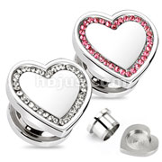 Heart Top with Multi CZ Screw-Fit Plug 316L Surgical Steel
