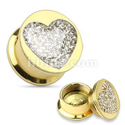 Clear Gem Paved Heart Gold IP Over 316L Surgical Steel Screw Fit Plug