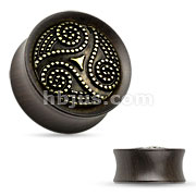 Dotted Tribal Ebony Wood Double Flare Saddle Fit Plug