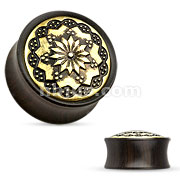 Flower Tribal Ebony Wood Double Flare Saddle Fit Plug