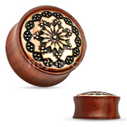 Floral Tribal Rose Wood Saddle Fit Plug