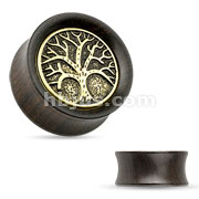 Organic Ebony Wood Saddle Plug with Tree of Life Top