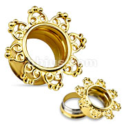 14Kt Gold Plated Tribal Hearts Filigree 316L Surgical Steel Double Flared Tunnels