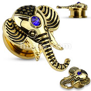 Saphire Blue CZ set Elephant Top Screw Fit Flesh Tunnel
