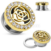 14Kt. Gold Plated Crystal Paved Rim with Rose Center Top 316L Surgical Steel Screw Fit Flesh Tunnel