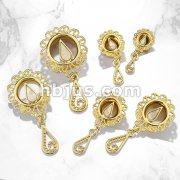 Mother Of Pearl Set Tear Drop Centered Vintage Filigree with Dangle Front Gold Plated Over 316L Surgical Steel Double Flare Tunnel