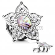 Abalone Shell Centered Tribal Flower Top Surgical Steel Screw Fit Flesh Tunnels
