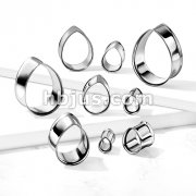 Tear Drop Shaped 316L Surgical Steel Double Flared Flesh Tunnel Plugs