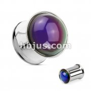 316L Surgical Steel Mood Stone Dome Over Double Flared Plug
