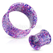 Metallic Splatter Blue and Purple 316L Surgical Steel Double Flared Tunnel