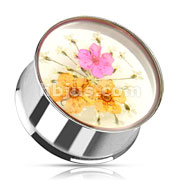 Pink Orange Dried Flower Incased Clear Acrylic Double Flared 316L Stainless Steel Plug