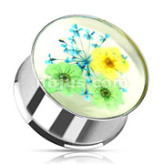 Green Blue Dried Flower Incased Clear Acrylic Double Flared 316L Stainless Steel Plug
