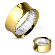 Square Stone Inside Gold IP over 316L Surgical Steel Double Flared Tunnels