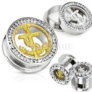 Glitter Anchor and Multi-Gemmed Rim 316L Surgical Steel Screw Fit Tunnel