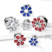 Zircon Set Flower All316L Surgical Steel Screw Fit Flesh Tunnel Plugs